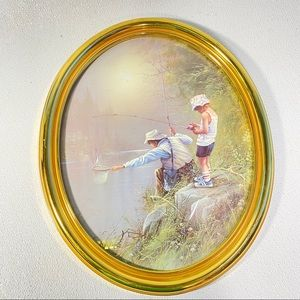 Vintage Fishing Picture Oval Frame